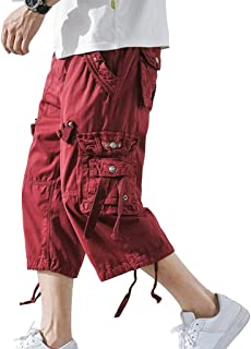 DONGD Mens Cargo Shorts Cotton 3/4 Loose Fit Below Knee Capri Cargo Short
