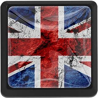 TIKISMILE UK Grunge Flag Crystal Glass Square Drawer Knobs and Pulls Knobs Handles for Kitchen Furniture Door Drawer Cabinet Dresser Closet Wardrobe Cupboard Bathroom,3 Pack