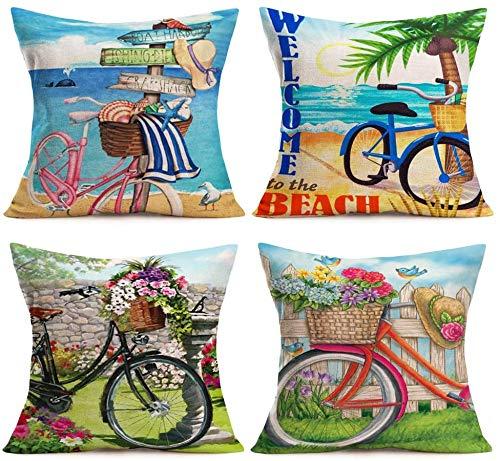 Summer Beach Sweet Garden Funda de Almohada para Bicicleta, Plantas Florales, pájaros, árboles de Coco, Animales Marinos, Fundas de cojín de Lino y algodón Decorativas, Fundas de Almohada cuadradas p