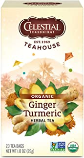 Celestial Seasonings Organic Herbal Tea, Ginger & Turmeric, 20 Count (Pack of 6)