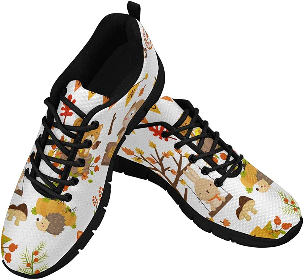 INTERESTPRINT Animal Woodland Autumn Women's Athletic Mesh Breathable Casual Sneaker