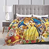 Beauty and The Beast Gifts Beauty and The Beast Blanket Fuzzy Fluffy Plush Micro Soft Flannel Throw Blanket Beauty and The Beas-t Merchandise Bedding Decor Gift 60x50 inch