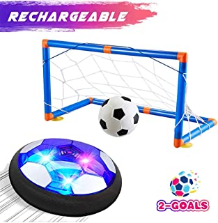 Outdoo Hover Soccer Ball Set with 2 Goals,Kids Toys Air Soccer Rechargeable Indoor Soccer Toys for Boys-Girls-Toddler Floating Football with Led Light and Foam Bumper Including an Inflatable Ball
