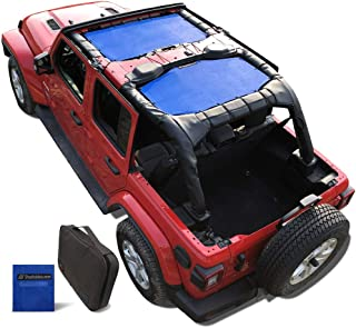 Shadeidea Jeep Wrangler Sun Shade JL Unlimited 4 Door Front and Rear 2 piece-Blue Mesh Screen Sunshade JLU Top Cover UV Blocker with Grab Bag-One time Install 10 years Warranty