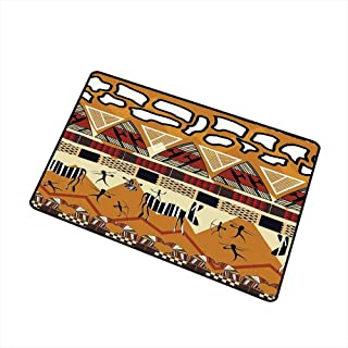 Indoor Floor mat,Tribal Ethnic African Hunting Zebra Spear Arrow Prehistoric Tribe Life Theme 24
