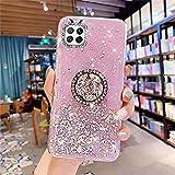 Compatibile con Huawei P40 Lite con supporto ad anello diamantato., Colore: rosa.