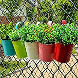 Margueras Set of 10 Pieces Metal Hanging Planter Colourful Removable Decoration Home Garden Balcony Flower Pot Hanger Gift Christmas Birthday Party (10 x 10 x 8 cm)