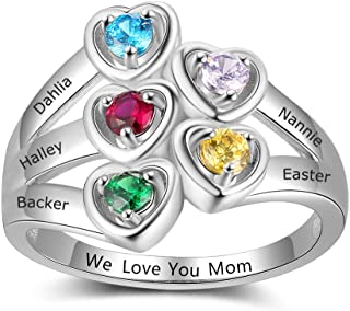 Personalized Mothers Rings with 5 Simulated Birthstones Family Promise Rings for Her Custom 5 Children Names Grandmother Jewelry for Women