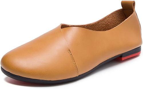 Mocasines de Cuero Casual Zapato Bailarinas de conducción Hauszapatos mujer