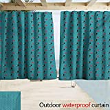 XXANS Household Curtains Cat Feline House Pet Silhouette with Polka Dotted Umbrella in