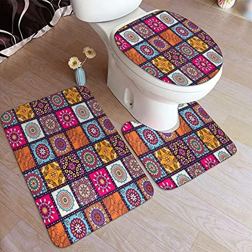 RUBEITA Juego de Alfombrillas baño 3 Piezas,Azulejo marroquí de Cuadros Bohemios,Juego de alfombras, Alfombra de baño Antideslizante,Alfombrilla de Contorno,alfombras para Cubrir la Tapa del Inodoro