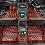 Dinuoda Alfombrillas de coche para BMW Serie 7 730Li F02 2008-2013 Alfombrillas de cuero rodeadas de protección contra todo tipo de clima, impermeables, color marrón