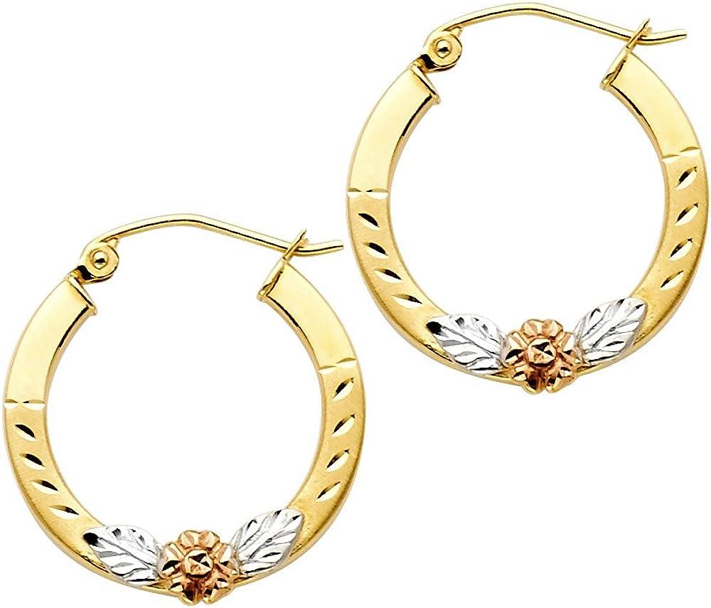 14k Tri Color Gold Fancy Flower Hoop Earrings (19mm Diameter)