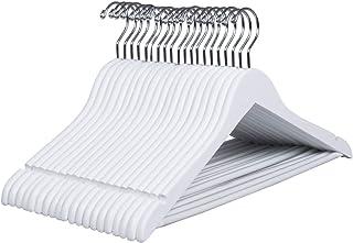comprar comparacion Amber Home 20 Unidades 44,5cm Perchas de Madera Blancas Durables y Lisas para Bodas Camisetas Camisas Trajes Abrigos Vesti...