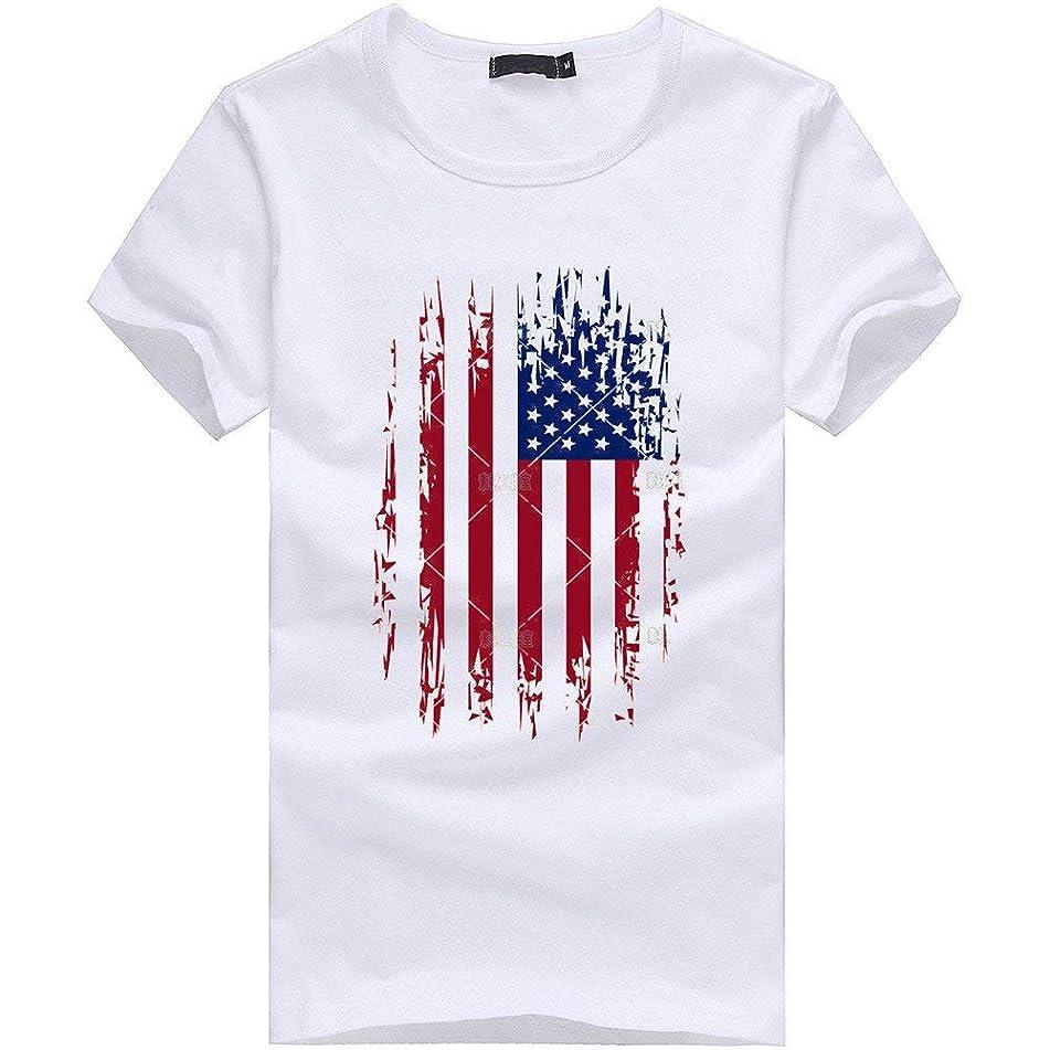 Men Plus Size Flag Print Tees,Hemlock American Flag Cotton Blouse Tees T Shirt Tops July Fourth