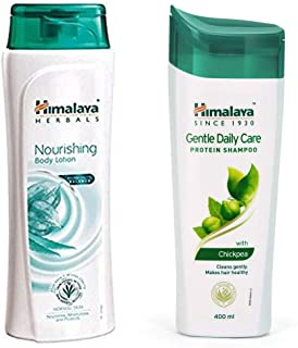 Himalaya Nourishing Body Lotion, 400ml And Himalaya Herbals Protein Shampoo with Chickpea, Gentle Daily Care, 400ml
