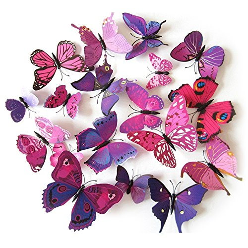TRIXES 3D Butterflies Purple Pink - 3D - Pack of 12 - Stick On Wall Magnetic Decoration Butterfly Wall Stickers - Colourful Home Bedroom Lounge Accessory