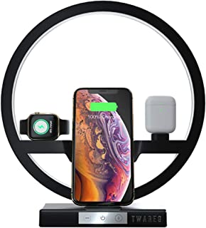 3 in 1 Wireless Charger, TWAREG Mulfuntional Cell Phone Fast Charging Stations Nighstand Lamp for AirPods/Apple Watch/iPhone 11/11 Pro/11 Pro Max/Xs MAX/XR/XS/X/8, Galaxy Note 10/10 Plus/S10 Plus/S10