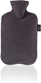 Fashy Hot Water Bottle with Fleece Cover, Charcoal, 2 L