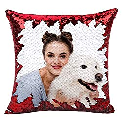 Red Sequin Personalized Pillow Cover with Your Photos