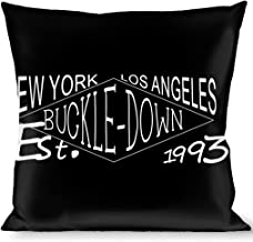 Buckle-Down Throw Pillow-BD Authentic Seatbelt Belt NY-LA Black/White, Buckle/Down