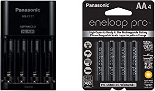 Panasonic BQ-CC17KSBA eneloop Advanced Individual Battery Charger with 4 LED Charge Indicator Lights, Black & BK-3HCCA4BA eneloop pro AA High Capacity Ni-MH Pre-Charged Rechargeable Batteries, 4 Pack