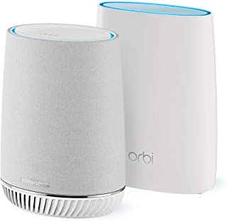 NETGEAR Orbi Tri-Band Whole Home Mesh WIFI System with Built-in Smart Speaker and 3Gbps Speed (RBK50V) – Router Replacement Covers Up to 4, 500 Sq. ft. 2-Pack includes 1 Router & 1 Satellite/Speaker