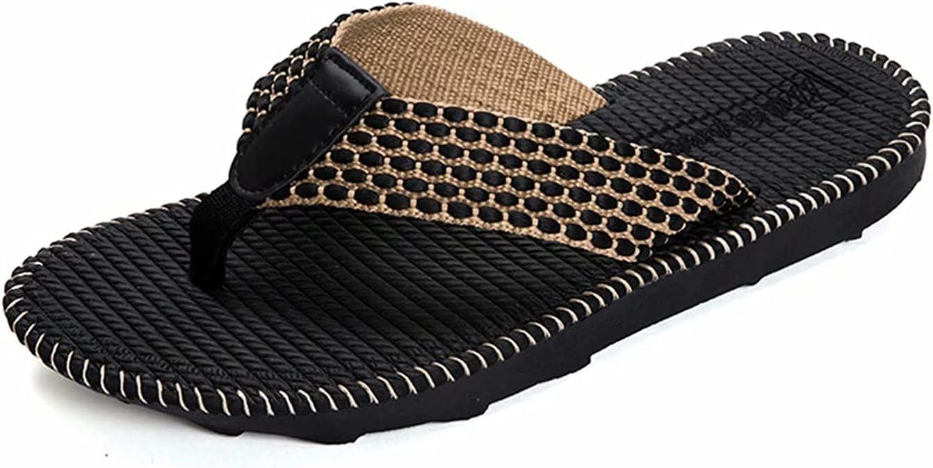 HSHOR Men's Flip Flop Sport Beach Pool Thong Sandals Comfortable Slides Slippers Outdoor Holiday Summer Shower Shoes Rubber Sole Flip Flops (Color : Black, Size : 43 EU)