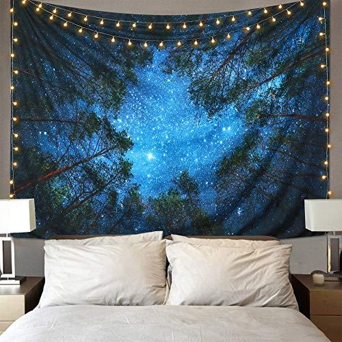 Lomohoo Tapiz de Estrella Bosque Tapices Forest Tapestry Psicodelicos Tapiz Pared Azul para la decoración del Dormitorio Sala Habitación(L/153cm*229cm)