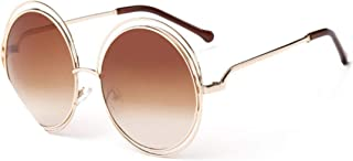 Vintage Round Oversized lens Mirror Sunglasses Women Metal Frame Lady Cool