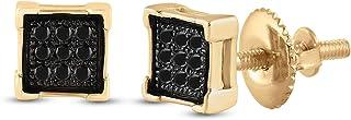 FB جواهر الأصفر لهجة 925 الفضة الاسترليني للرجال جولة سوداء اللون معززة الماس مربع أقراط 1/20 Cttw (الحجر الأساسي: I3 وضو...