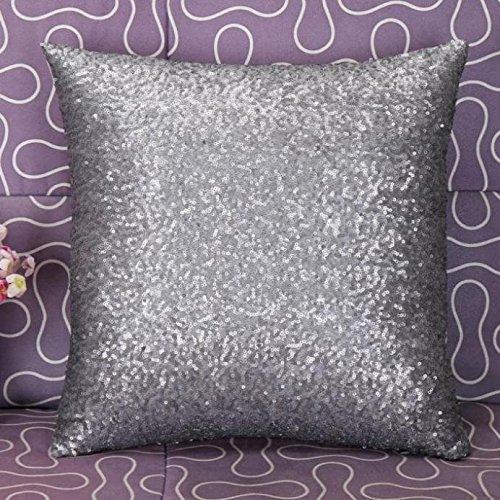 Allence Kissenbezug Funda de cojín Monocolor con Lentejuelas, Moderna, para sofá, habitación, 40 x 40 cm (Lentejuelas de Oro Rosa)