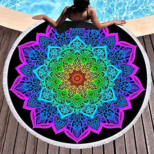TJFGJ Ronda Toallas de Playa Verano geométrica Gruesa Toalla de baño Ducha 150cm Yoga Círculo Nadada de la Playa Mat Cover Up servilleta de Plage (Color : Pattern 1)