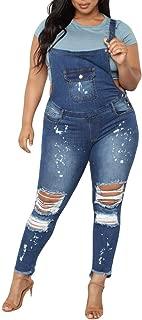 FIRERO Women Plus Denim Bib Pants Hole Jeans Ladies Blue Jumpsuit