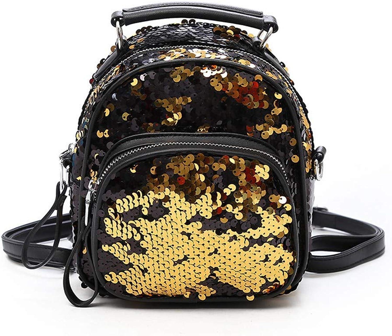 DYR Backpack Lady Handbag Sequin Mini Backpack Outdoor Travel Backpack Casual Backpack, gold