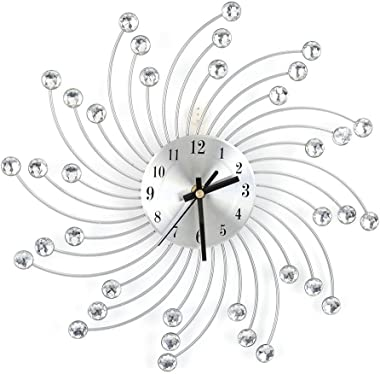 Wall Clock Diamonds Decorative Round Clock Metal Diamond Wall Clock Home Office Room Modern Decor (Silver)