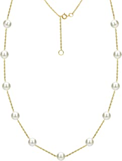 White Freshwater Cultured Pearl Necklace Tin Cup Station 14K Yellow Gold Chain Bridal Jewelry 7-7.5mm