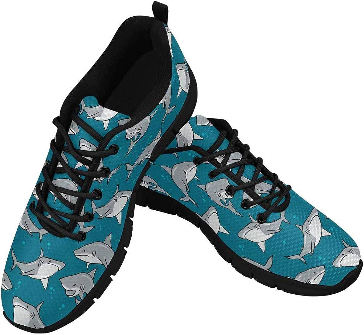 INTERESTPRINT Cartoon Sharks Women's Sneaker Lace Up Running Comfort Sports Shoes