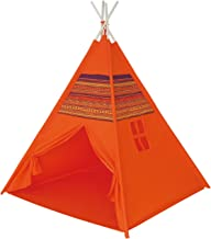POCO DIVO Red Dirt Teepee Pyramid Tent Canvas Finish Playhouse Kids Indoor Toy House Outdoor Play Tent with Wooden Poles