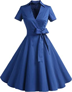 Gonna Vintage Anni 50 60 Audrey Hepburn Vestiti da Cocktail da Donna Elegante di Cotone Manica Corta