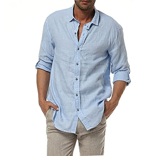 56bac4b2b7a Najia Symbol Mens Casual 100% Linen Rolled up Long Sleeve Buttons Shirts