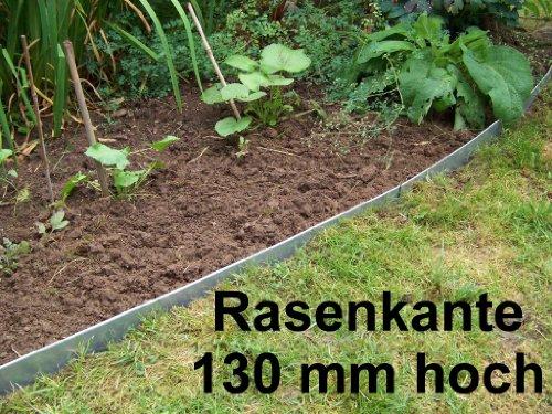 Rasenkanten Metall, Beeteinfassung Stahlblech feuerverzinkt, 130 mm hoch, 12er Set