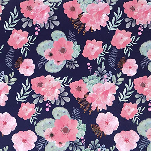 Caltero Floral Wallpaper 17.7' x 118' Watercolor Flowers Wallpaper Peel and Stick Contact Paper Multicoloured Perennial Blooms Wallpaper Vinyl for Living Room Bedroom Countertop Cabinet