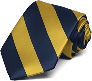 TieMart Boys' Navy Blue and Gold Striped Tie