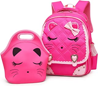 Efree Cute Cat Face Bow Diamond Bling Waterproof Pink School Backpack Girls Book Bag