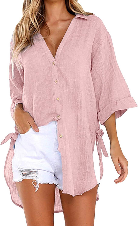 MOKINGTOP Blouses Button-Down 海外 Shirts Women Long 人気急上昇 Sleeve Cotton