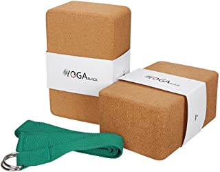 JBM Yoga Block Plus Strap with Metal D-Ring Yoga Brick Cork Yoga Block 6 Colors - High Density EVA Foam Yoga Block to Supp...