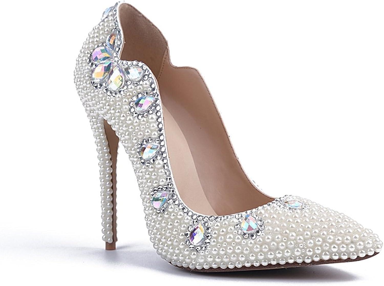 TDA Women's MA04131 Fashion Beaded Slender Bride Wedding Pumps
