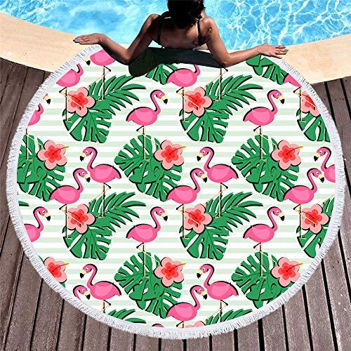 Vioyo Ronde strandhanddoek van microvezel met 3D-print voor yogamat voor zomer, kwast voor volwassenen