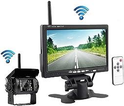 Cámara de respaldo inalámbrica podofo con monitor de visión trasera Cámara infrarroja de visión nocturna resistente al agua + Monitor de visión trasera HD de 17.8 cm para RV
